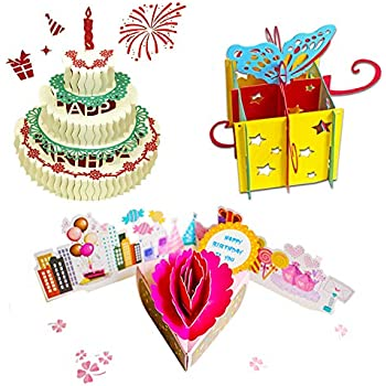 3D Pop Up Birthday Cards Greeting Handmade And Envelopes For Sister Mom Wife Kids Boy Girl Friend 3 Pack