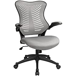 Furmax Mid Back Office Chair Mesh Desk Computer Chair with Flip-Arms Swivel Task Chair with Ergonomic Headrest and Lumbar Support (Gray)