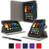 """rooCASE Case for Amazon All-New Kindle Fire HDX 7 - Dual-View Folio Case HDX 7"""" Tablet - BLACK (With Auto Wake / Sleep Cover)"""