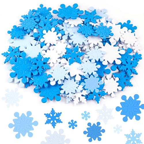 Coopay 600 Pieces Mini Foam Snowflake Stickers Self-Adhesive Snowflake Stickers Decals for Christmas Decoration, DIY Craft Projects, Assorted Color and Sizes