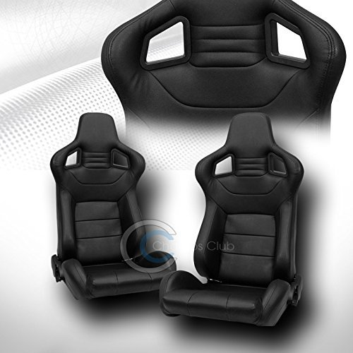 2X UNIVERSAL MU BLK STITCH PVC LEATHER RECLINABLE RACING BUCKET SEATS+SLIDER C01