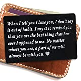 Engraved metal card insert, Wallet Love Note - Anniversary Gift for men wallet insert, deployment gift for him, Anniversary Gift, Boyfriend Gift, husband gift