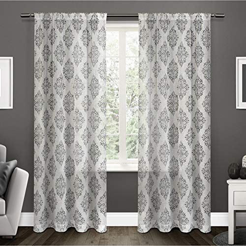 Exclusive Home Curtains Nagano Medallion Belgian Linen Window Curtain Panel Pair with Rod Pocket, 54x96, Black Pearl, 2 Piece (Ready Panels Silk Made Drapery)