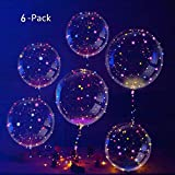 IvyLife LED Balloons Latex Transparent Balloons with Flash Colorful String Decoration for Wedding, Party, Festival, Birthday (6 pcs)