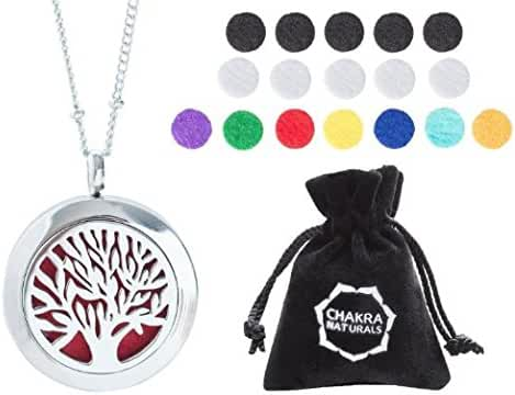 "Aromatherapy Necklace -Tree of Life Design - Essential Oils Diffuser Jewelry 25mm Diameter Surgical Stainless Steel Locket/ Pendant w/ 24"" Chain+17 Aromatherapy Refill Pads - Silver"