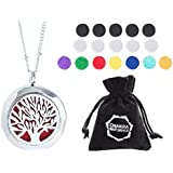 """Aromatherapy Necklace -Tree of Life Design - Essential Oils Diffuser Jewelry 25mm Diameter Surgical Stainless Steel Locket/ Pendant w/ 24"""" Chain+17 Aromatherapy Refill Pads - Silver"""