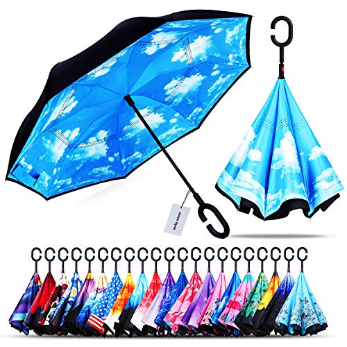 Owen Kyne Windproof Double Layer Folding Inverted Umbrella, Self Stand Upside-Down Rain Protection Car Reverse Umbrellas with C-Shaped Handle (Sky Blue) (Top Umbrellas)