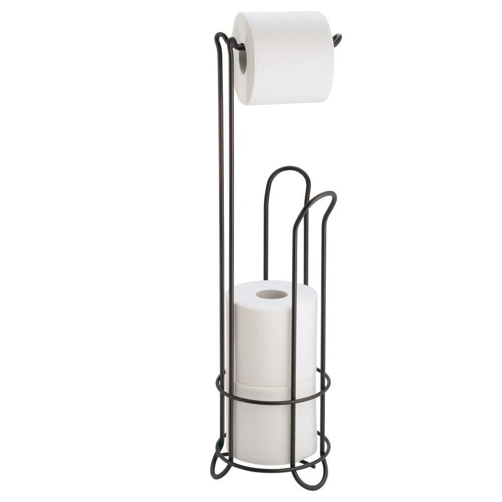 InterDesign Classico Bathroom Free Standing Toilet Tissue Roll Stand Plus, Copper 68709