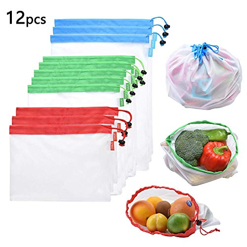 Reusable Mesh Produce Bags 12pcs 3 Size Lightweight Washable Mesh Shopping Merchandise Bags with Drawstring ((4 Large 4 Medium &4 Small)