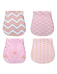 4Pack Cotton Newborns Baby Girl Brup Bib Cloth Triple Layer Burping Rags Soft Absorbent Thick Towels Shower Gift Set