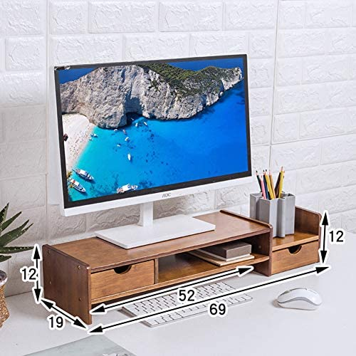 QTQHOME Soporte con Almacenamiento De Información De Monitor Equipo Notebook TV Impresora Soporte Vertical Escritorio Banda Gaveta Estante Woody-Marron Oscuro 50x23x13cm(20x9x5): Amazon.es: Hogar