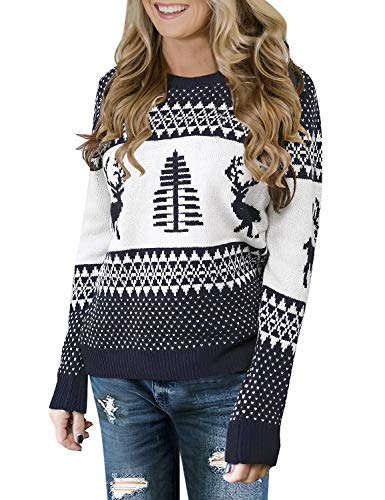 LookbookStore Women's Navy Long Sleeves Ugly Christmas Tree Reindeer Winter Holiday Knit Sweater Pullover Size S 4 6
