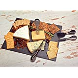 Kenley Slate Cheese Board and Knife Set - Large 16x12in Plate with 4 Knives - Stainless Steel Slicer Tools - Black Stone Serving Tray Platter for Dessert Charcuterie Dinner Party - Gift Set