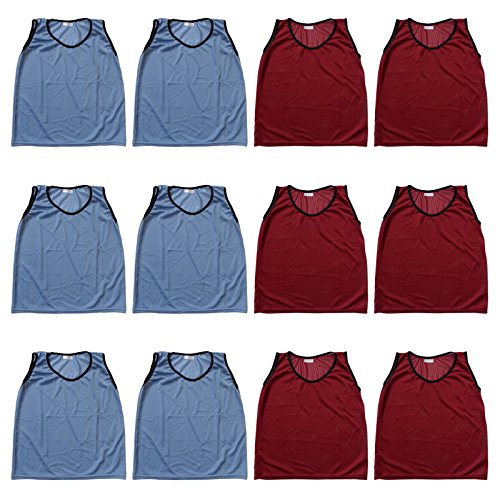 (Youth Nylon Mesh Practice Jerseys Sports Scrimmage Vests - Team Pinnies For Children - Soccer, Football, Basketball, Volleyball - School Activities P.E. Class (Light Blue/Red 12pcs Set))