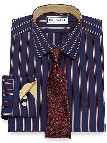 - Paul Fredrick Men's Non-Iron Cotton Stripe Mitered Button Cuff Dress Shirt Multi 16.5/35
