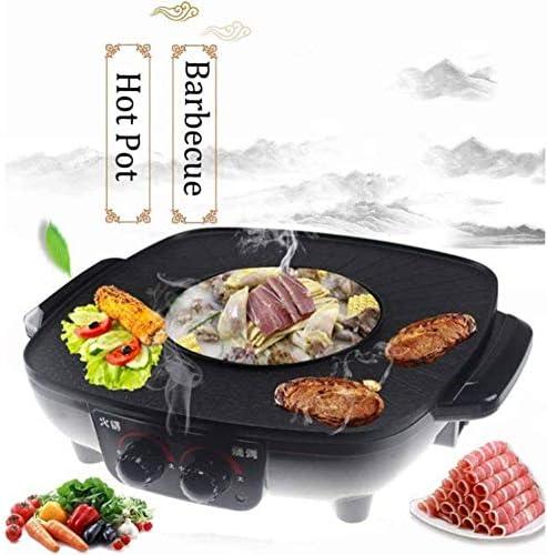 Fikujap 2 en 1 Grills électrique, Coffre-Fort Portable et Durable, Facile à Nettoyer, Non bâton Shabu, pour Family Party Hôtel