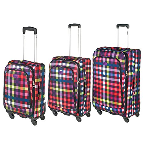 Highbury Lightweight Set of 3 Piece 4 Wheel Spinner Soft Sided Luggage Unique Multicolour Box Print