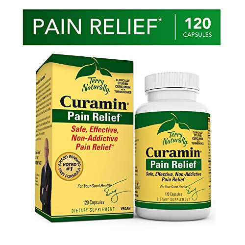 Terry Naturally Curamin – 120 Vegan Capsules – Non-Addictive Pain Relief Supplement with Curcumin from Turmeric, Boswellia DLPA – Non-GMO, Gluten-Free – 40 Servings