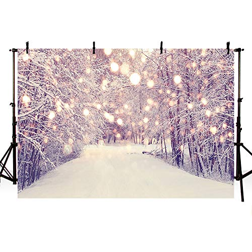 MEHOFOTO Winter Wonderland Landscape Backdrop Snow Scene Ice Pine Tree Bokeh Photography Background Christmas Decoration Photo Studio Props 7x5ft