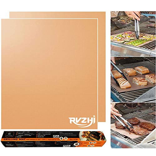 RVZHI Copper Grill Mat Set of 2-100% Non-Stick BBQ Grill & Baking Mats - FDA Approved, PFOA Free, Easy to Clean and Reusable - As Seen on TV - 15.75 x 13 Inch (Grill Eliminate Mat Bbq)