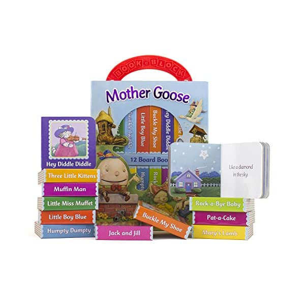 Mother-Goose-Deluxe-My-First-Library-12-Board-Book-Block-PI-Kids-toys