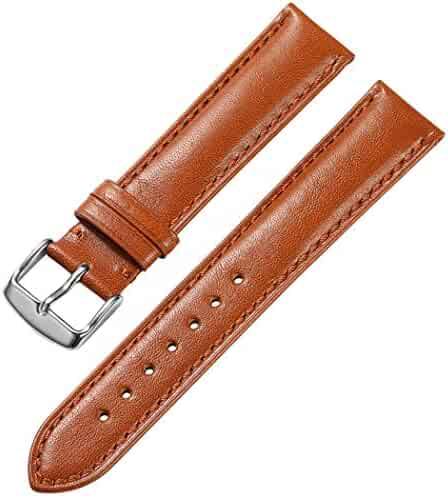 iStrap 21mm Genuine Calfskin Leather Watch Band Padded Soft Replacement Strap Steel Spring Bar Buckle