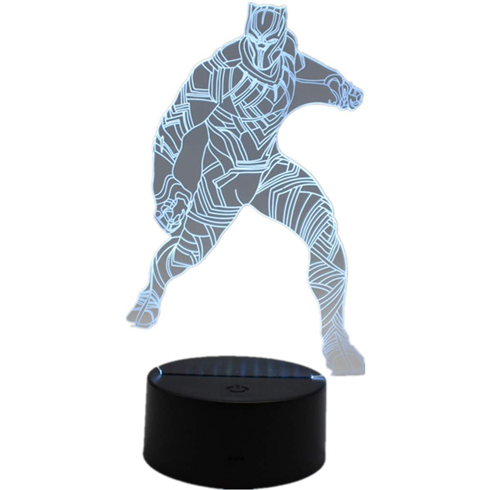 Night Light Superhero 3D Black Panther LED Night Light Home Office Decoration Touch Remote Control 16 Color Acrylic USB/Battery Superhero Bedside Lamp Creative Gifts Toy(Superhero Black Panther)