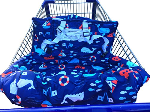 Review Ol Mama Premium 2-in-1 Shopping Grocery Cart/High Chair Cover, Blue Nautical, Multifunctional...
