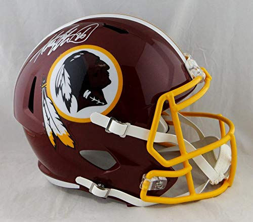 Adrian Peterson Autographed Washington Redskins F/S Speed Helmet- Beckett Auth Silver