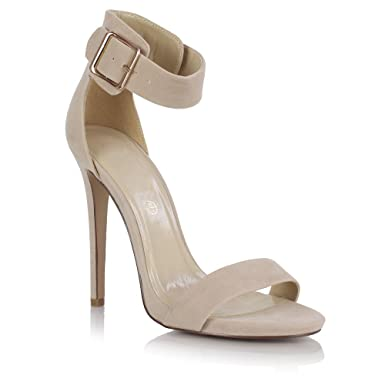 siren stiletto high heel ankle strap peep toe barely there sandals shoes faux suede