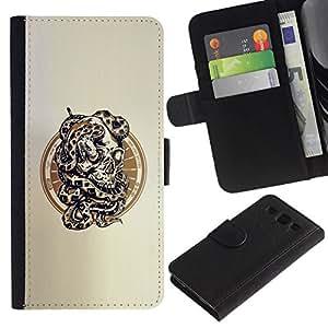 // PHONE CASE GIFT // Moda Estuche Funda de Cuero Billetera Tarjeta de crédito dinero bolsa Cubierta de proteccion Caso Samsung Galaxy S3 III I9300 / Snake Skull /