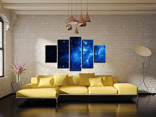 5 Panel Beautiful Starry Sky Modern Giclee Canvas Prints Artwork