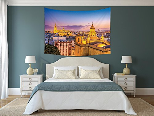 iPrint Polyester Tapestry Wall Hanging,Cityscape,City Skyline in Spain Old Mediterranean Touristic Historic Nostalgic Print Home,Multi,Wall Decor for Bedroom Living Room Dorm by iPrint