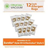 12 Eureka Style OX & Electrolux Style S Cloth Vacuum Bags, Compared to Part # 61230, Designed & Engineered by Crucial Vacuum