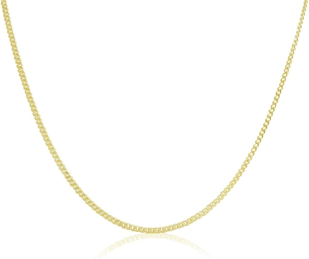 "14K Gold 1.1MM Thin Curb/Cuban Chain Necklace- Available in Yellow, White or Rose-16""-24"""