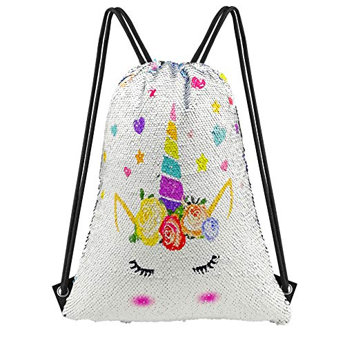 Neasyth Mermaid Sequins Drawstring Backpack, Reversible Glittering Dance Drawstring Bag Yoga Gym Gift For Girls Women kids (C-UNICORN) ()