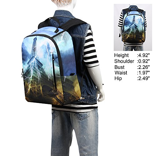 Hynes Eagle Cool Printed Kids School Backpack Effel Tower