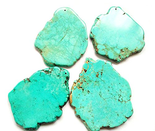 5pcs 80-100mm Natural Turquoise Slab Freeform Cabochons Gemstone Jewelry Pendant,pop Socket (Bead Freeform Pendant Turquoise)