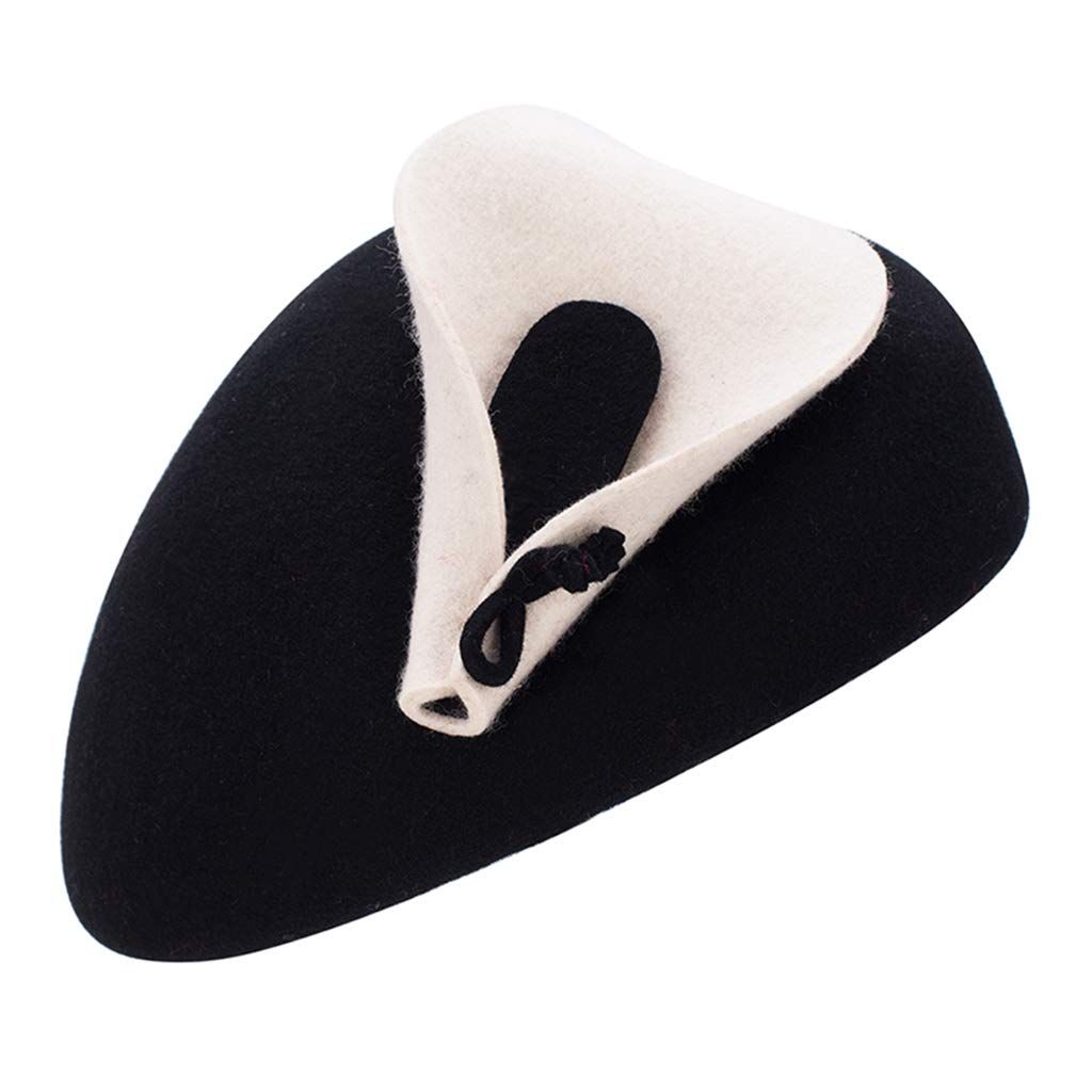 Fascinator Hats for Women Vintage Wool Beret Hats Ladies Cocktail Party Pillbox Hat Wedding Fedoras Black Alihao