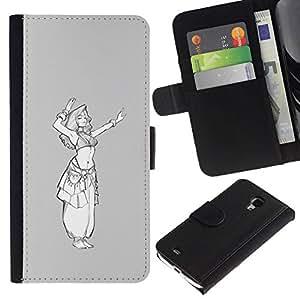 All Phone Most Case / Oferta Especial Cáscara Funda de cuero Monedero Cubierta de proteccion Caso / Wallet Case for Samsung Galaxy S4 Mini i9190 // boceto princesa blanco gris blanco chica