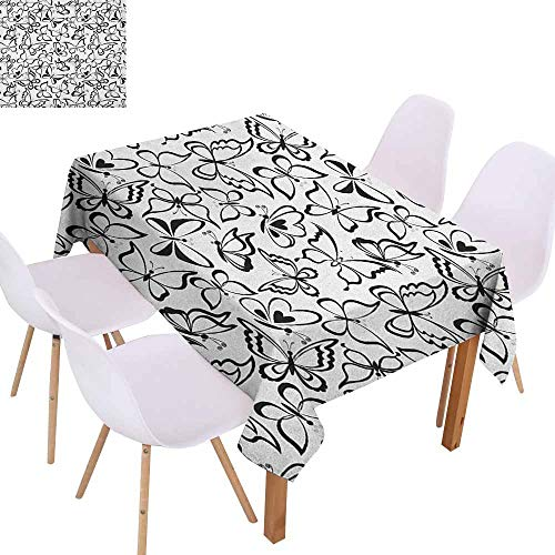 Marilec Wrinkle Resistant Tablecloth Animal Butterfly Pattern Spiritual Freedom Sign Sacred Feminine Artful Illustration Soft and Smooth Surface W52 xL70 Black and White Great for Buffet Table -