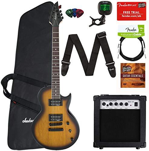 Jackson JS22 Monarkh SC Electric Guitar - Tobacco Burst Bundle with Amplifier, Instrument Cable, Gig Bag, Tuner, Strap, Picks, and Austin Bazaar Instructional DVD (Jackson Pro Series Monarkh Sc Electric Guitar)