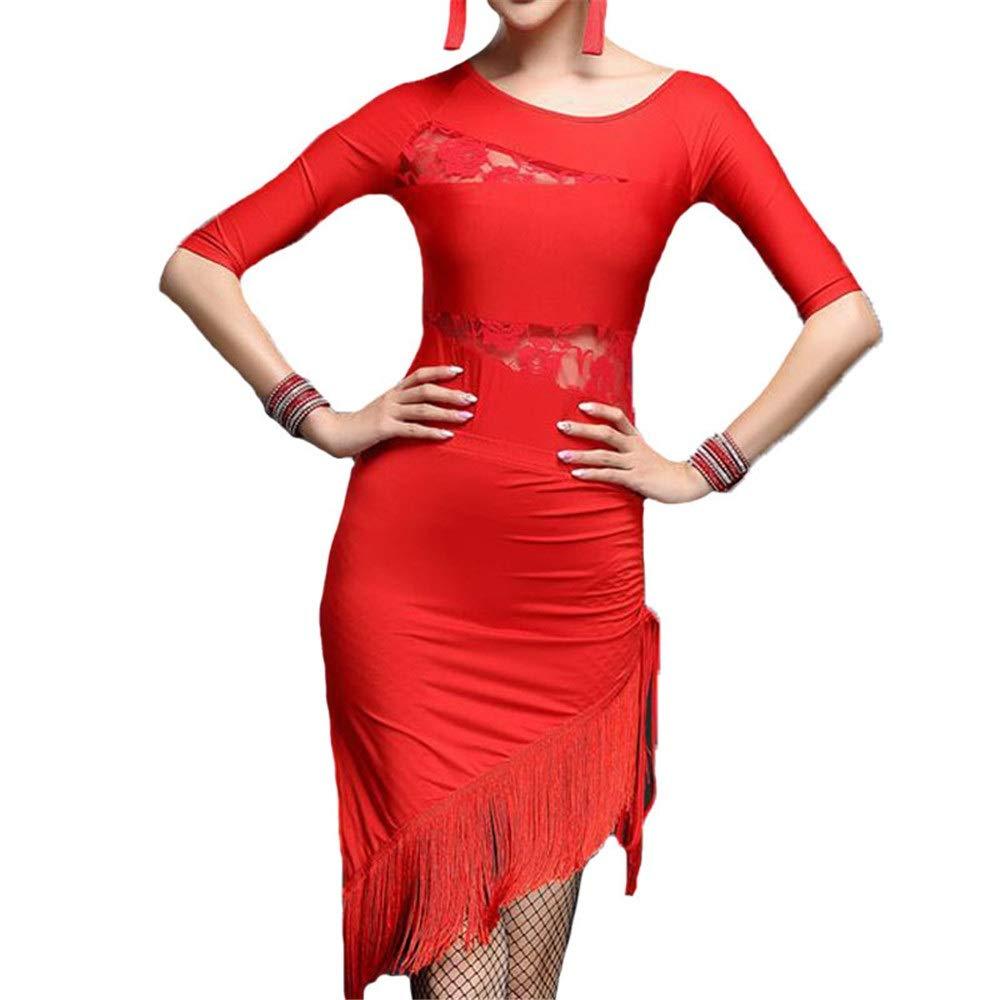 Rouge Robe de danse latine Robe de perforhommece Femmes Stretchy Glands Latin Dancewear Demi Manches Côté Split Dentelle Splice Fringe Flapper Robe Moulante Salle De Bal Parti Perforhommece Costumes Costume de X-Large