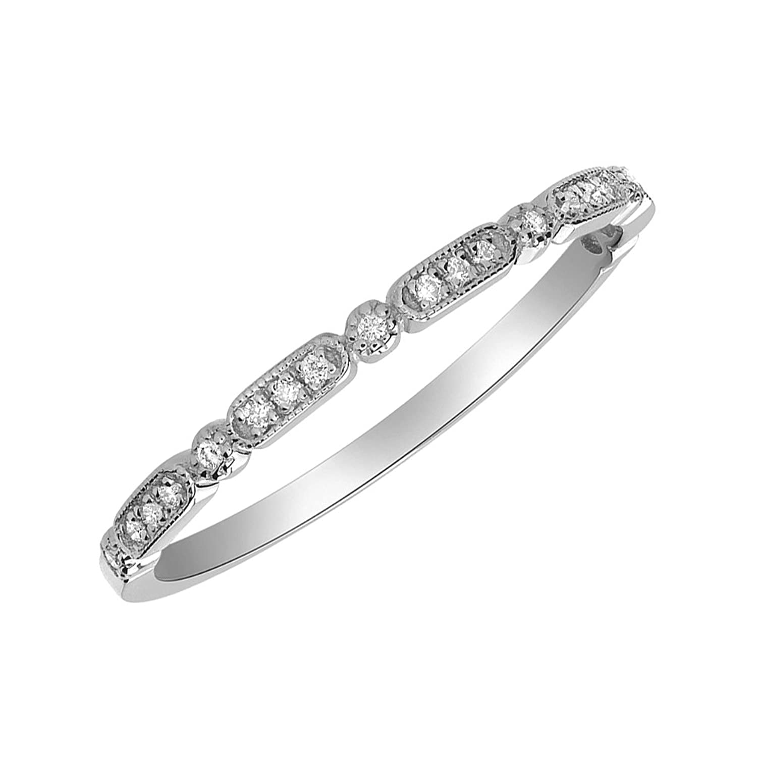 1.7mm 14K White Gold, Yellow Or Rose Gold 0.09 cttw Diamond Band Stackable Ring (Size 2 to 13)