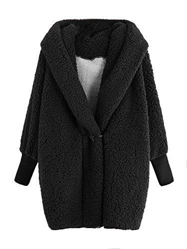 SweatyRocks Women Khaki Hooded Dolman Sleeve Faux Fur Cardigan Coat for Winter Black #1 M