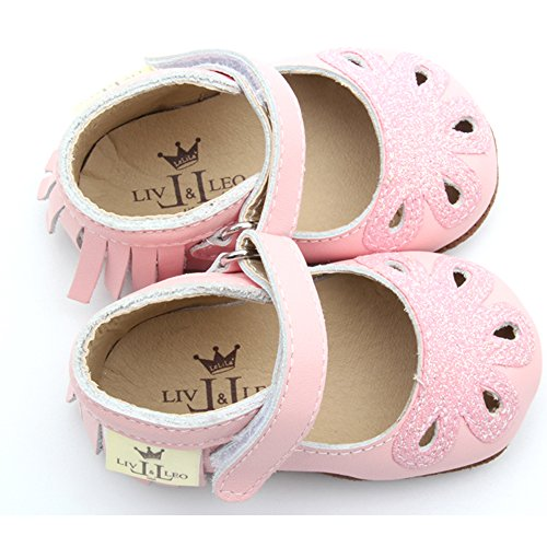 Liv & Leo Baby Mary Jane Moccasins Soft Sole Crib Shoes Slip-On Leather (18-24 Months, Pink Sparkle) - 19 Sparkle