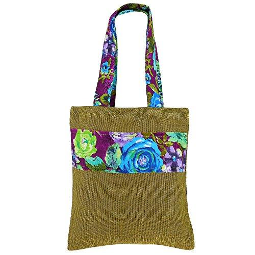 Multipurpose Mini Shopping Bag, Colored Jute, Natural Fiber, Non Woven Lining by ShalinIndia