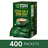 WHOLE EARTH SWEETENER Stevia Leaf and Monk Fruit Sweetener, Erythritol Sweetener, Sugar Substitute, Zero Calorie Sweetener, 400 Stevia Packets
