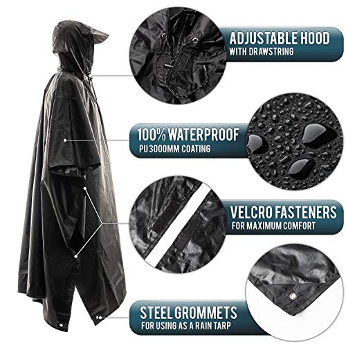 Foxelli Hooded Rain Poncho - Waterproof Emergency Military Raincoat for Adult Men & Women - Lightweight, Multi-Use, Reusable Rain Gear for Hiking, Camping, Fishing, Festivals