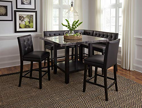FurnitureMaxx Casper Button Tufted Back 6-Piece Counter Height Dining Set with Faux Marble Table Top